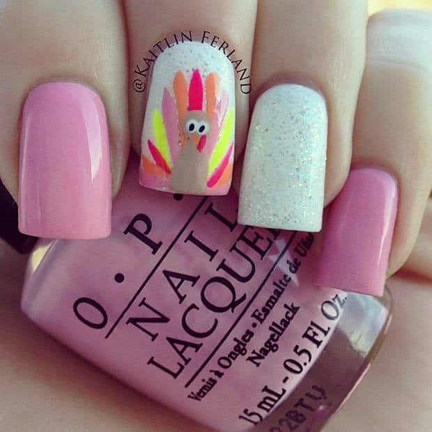 Pink Color Nail Idea for Thanksgiving