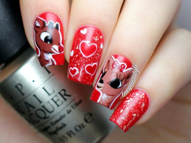 Rudolf And Olive Reindeer Nail Design