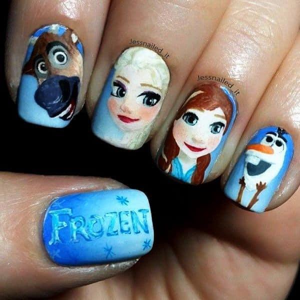 Olaf & Sven Frozen Nail Art