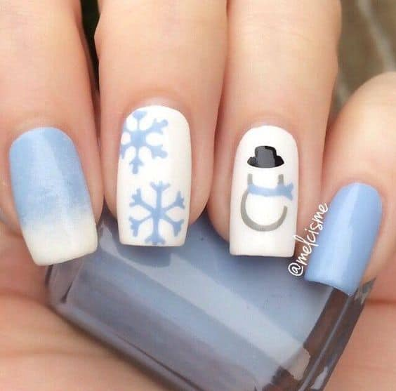 sky blue Winter Nail design