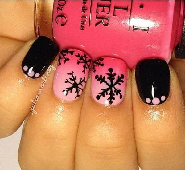 Snowflake nail designs 25 ideas to celebrate winter very simple design paint snowflakes in black color on pink nail polish you can fill some nails with solely black and draw some dots in pink for diversity prinsesfo Image collections