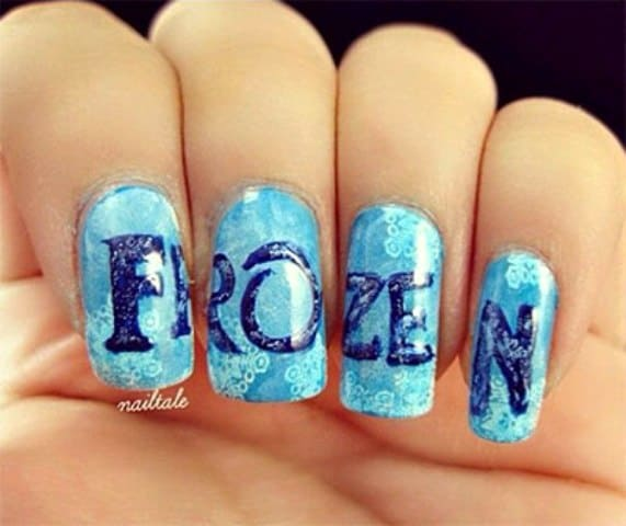 This design is self-titled. You can write the name of this movie in bold  font on sky blue base of your nails. Write 'Frozen' in blue color for a  contrasting ... - 15 Fictional Frozen Nail Designs Inspired From The Disney Movie