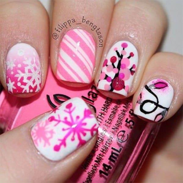Snowy Pink Nail Art