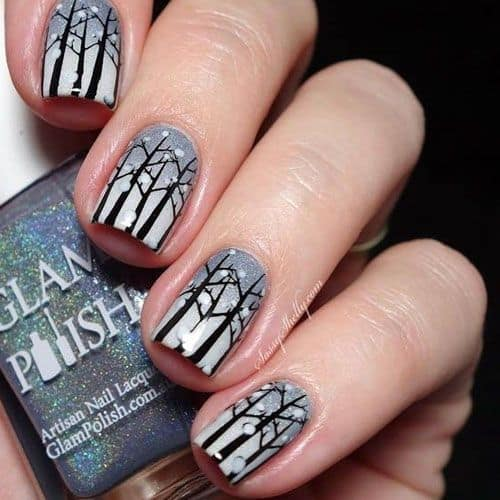Black Forest nail Design for Winter