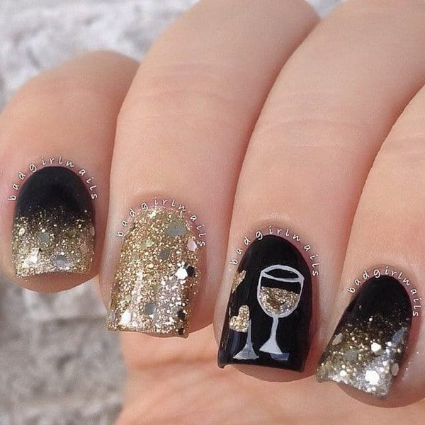 20 fabulous new years nail designs to welcome 2018 13 love for wine prinsesfo Choice Image
