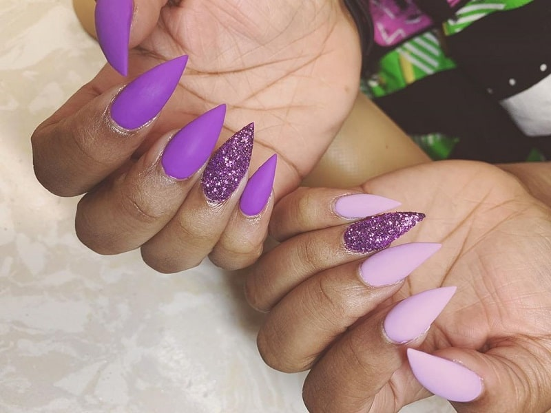 purple stiletto nails