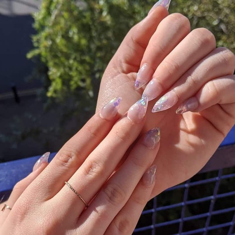 small nude stiletto nails