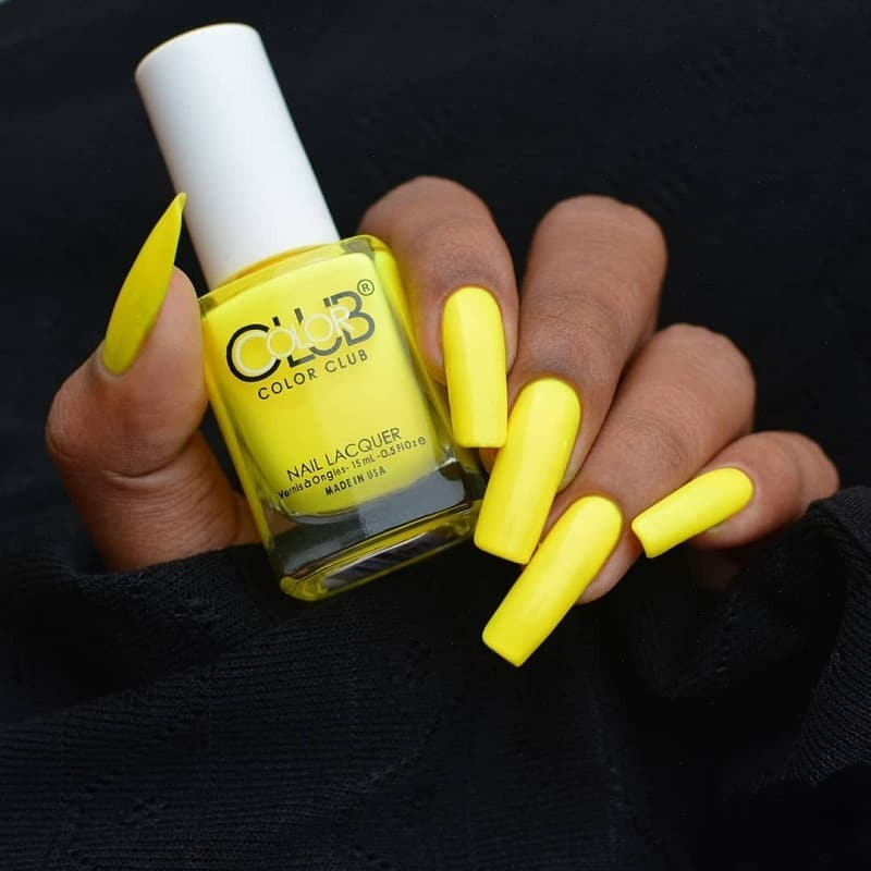 yellow long square nails