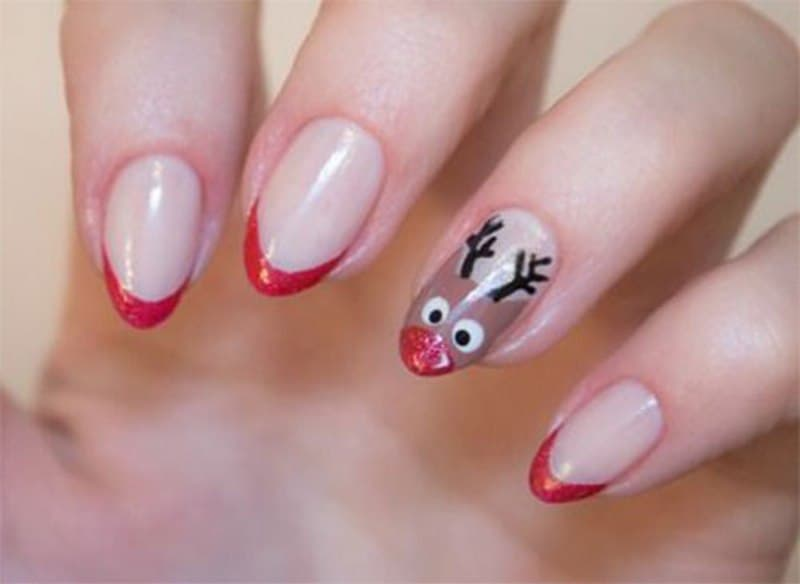 15 festive reindeer nail art to invite santa clause naildesigncode rudolf reindeer nail art prinsesfo Choice Image