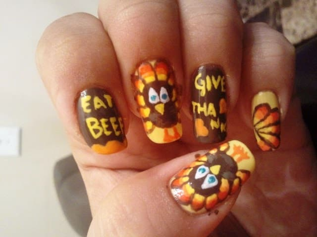Meat Lovers Thanksgiving Nail Design