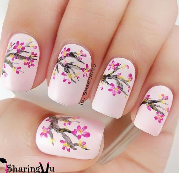 10 charming cherry blossom nail art naildesigncode basic cherry blossom nail art prinsesfo Gallery