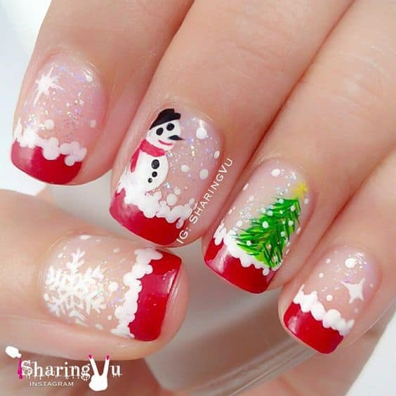 nail design with snowman