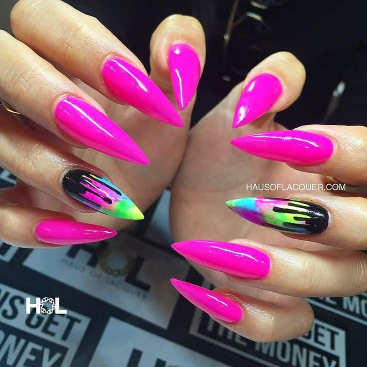 Shocking Pink Stiletto Nail Design