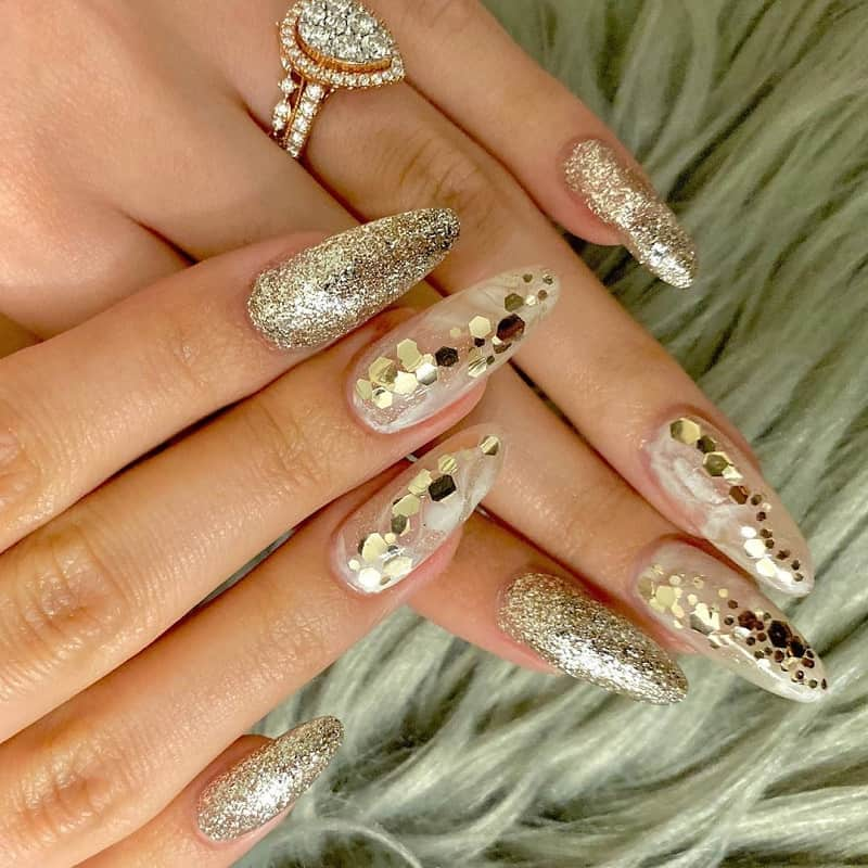 clear sparkly long almond nails