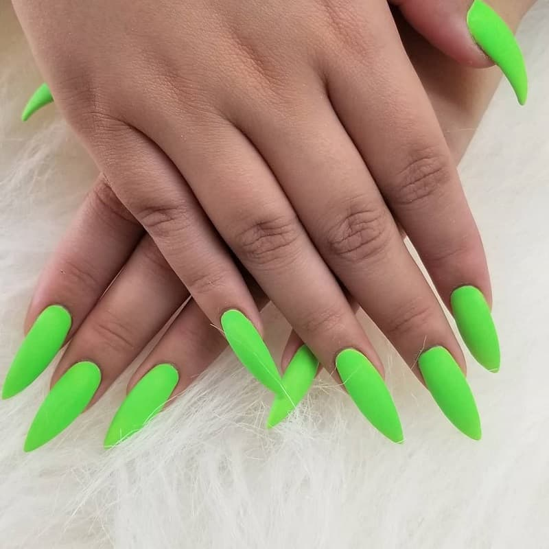 matte stiletto green nails