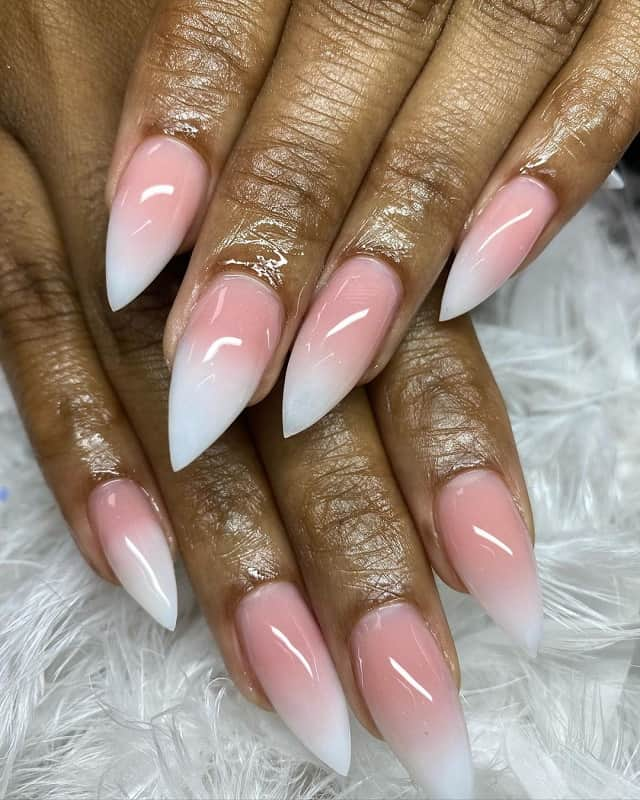 nude color pink stiletto nails