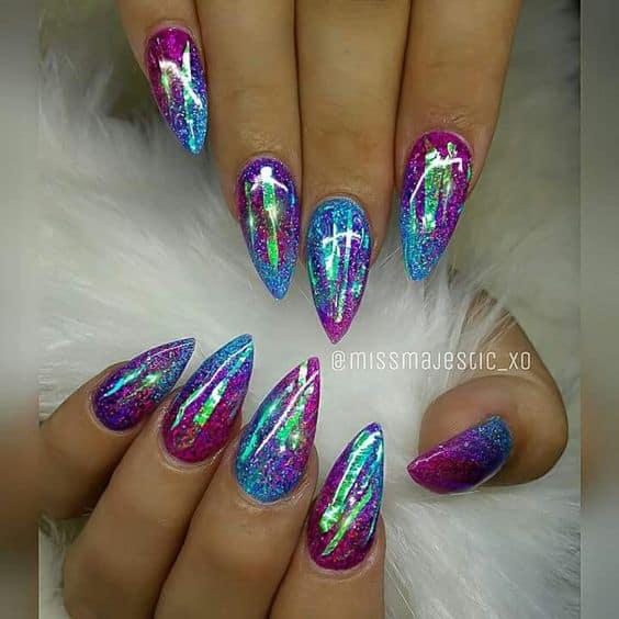 Acrylic short stiletto nails