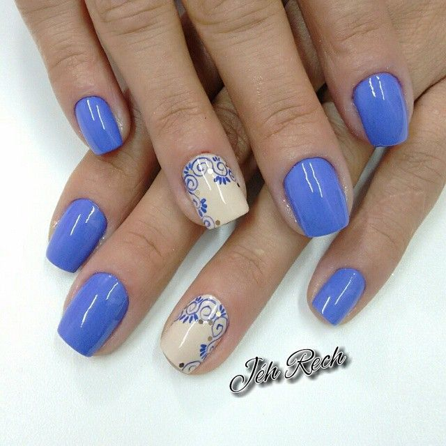 Blue Accent Nail Design