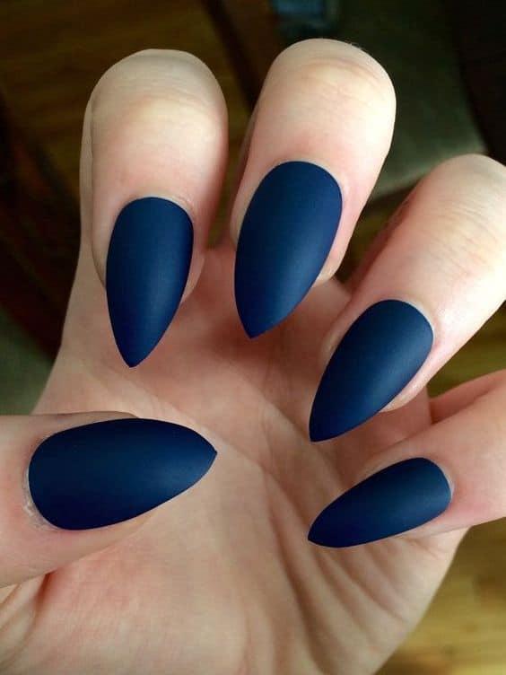 Blue Matte Nail Design