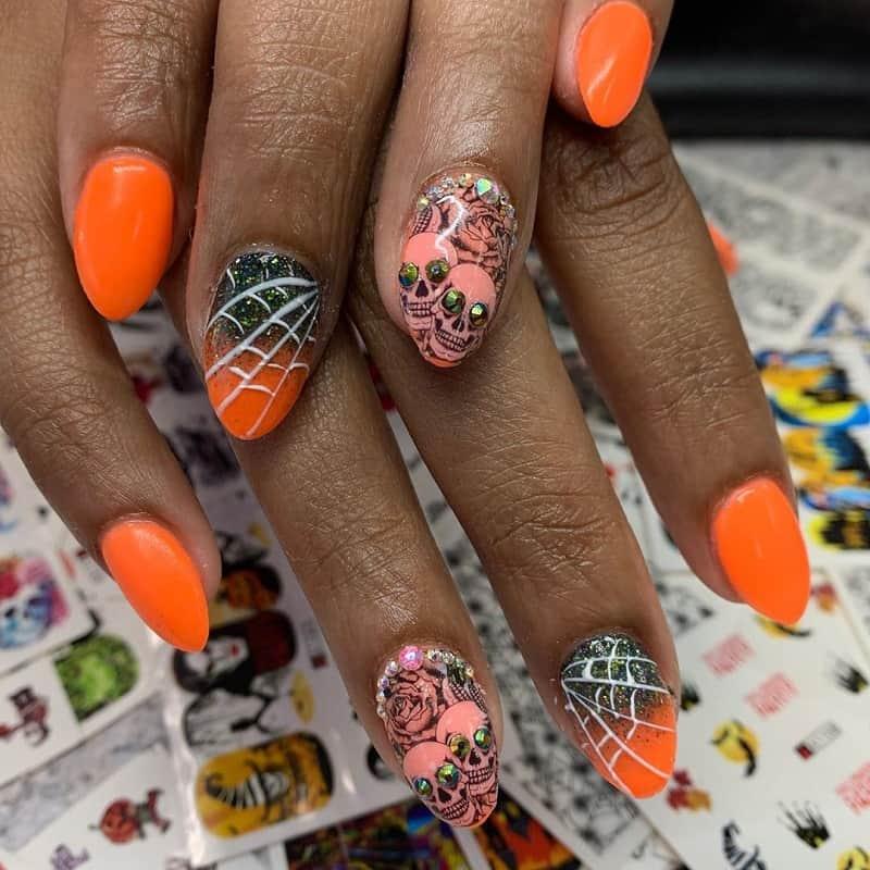 short almond acrylic fall color nails