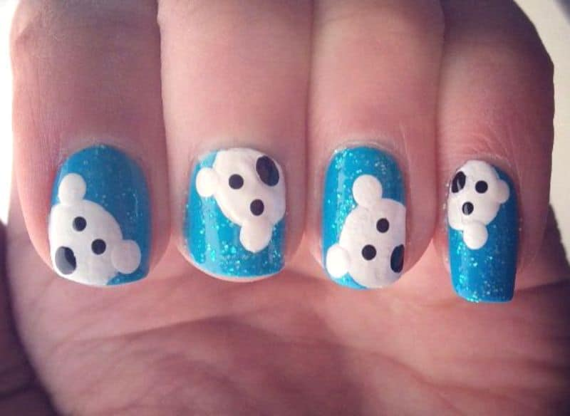 polar bear winter nail design