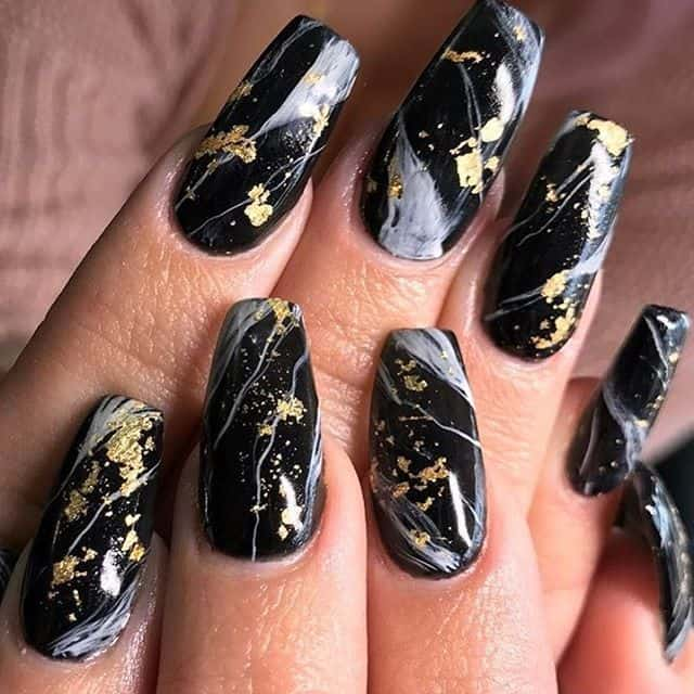 Mysterious Black Ballerina Nails