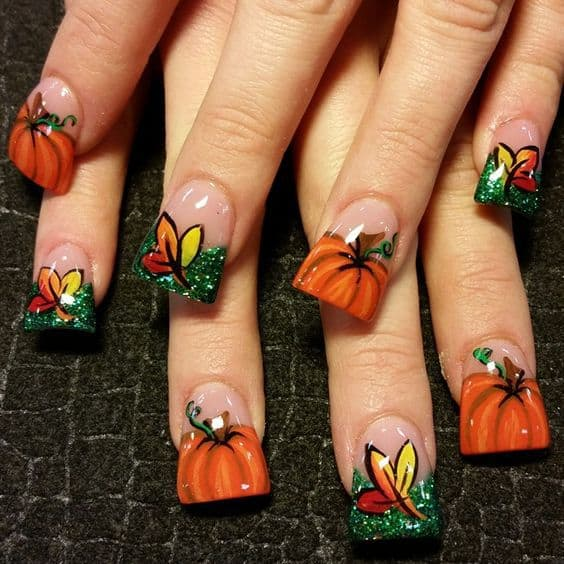 Halloween Design on Square Acrylic Nail