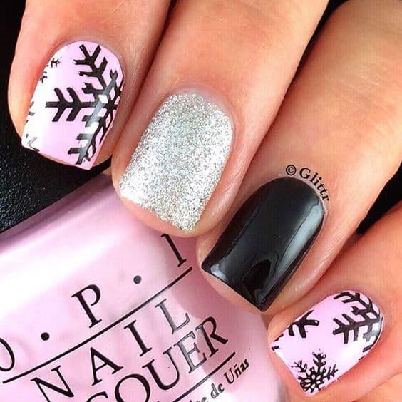 Pink & Black Snowflake Nail designs