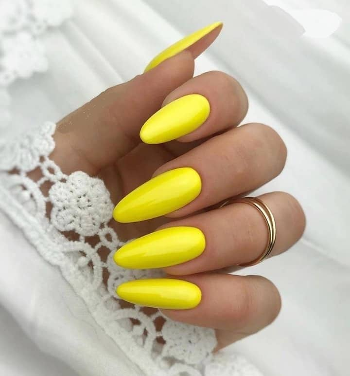 long almond yellow nails