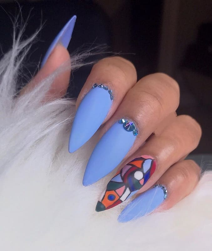 matte stiletto baby blue nails