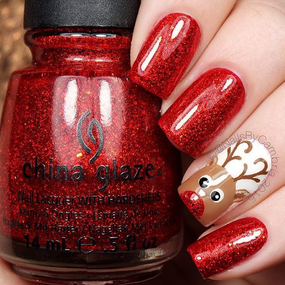 reindeer nail art for winter