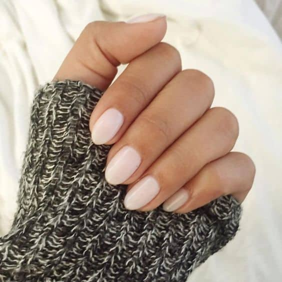 Round Acrylic Nail Design in Nude