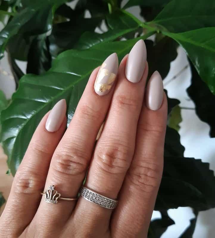 nude color stiletto nails