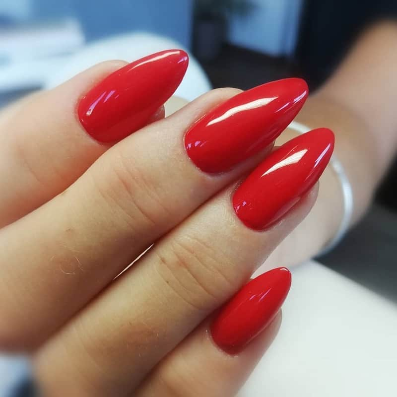 long almond red nails