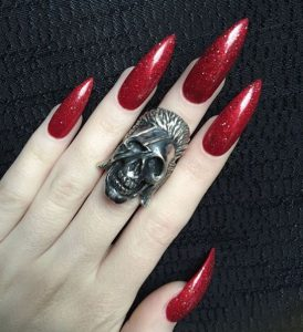 Long Red Stiletto Nail Design