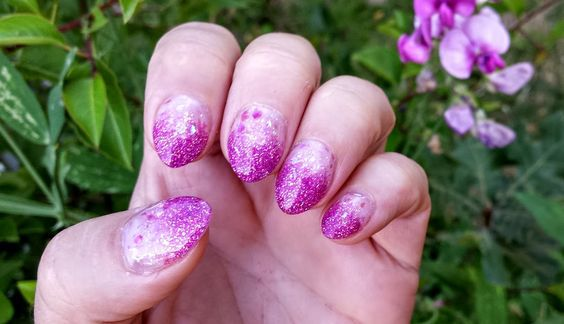 Purple Short Oval Nail