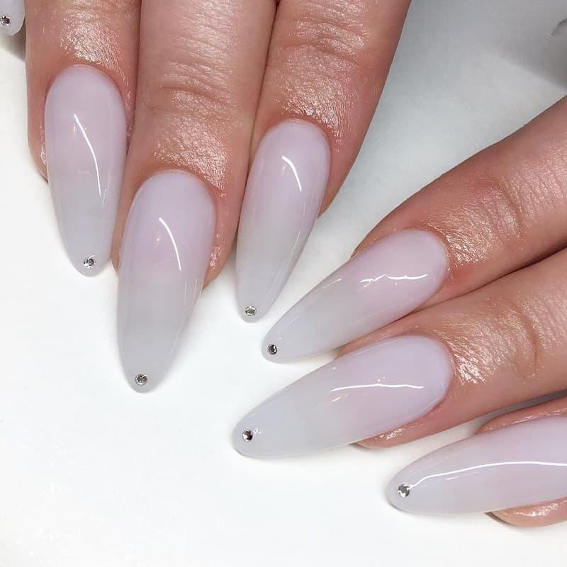 long almond white nails