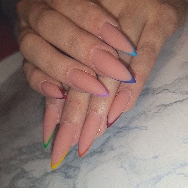 matte stiletto nude nails