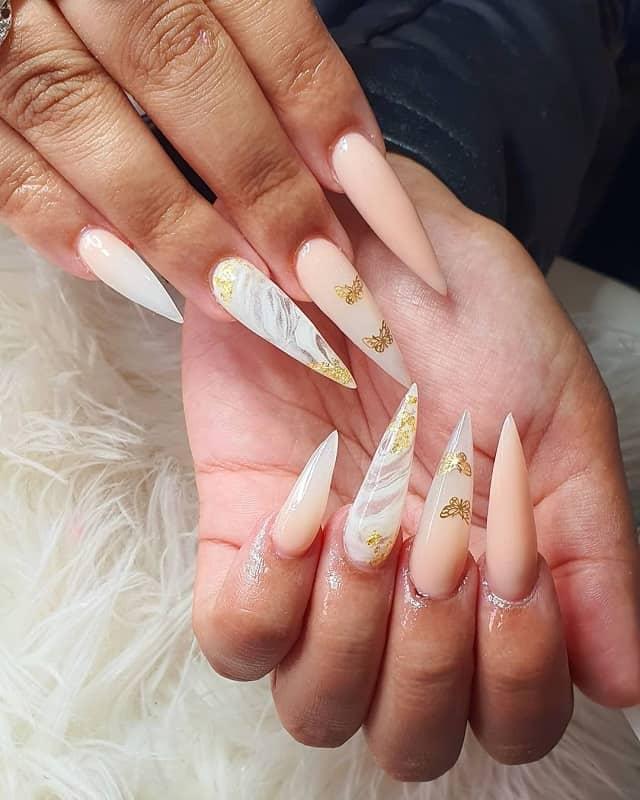 nude stiletto nails design