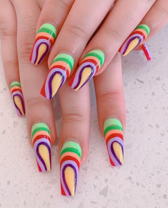 rainbow ballerina nails
