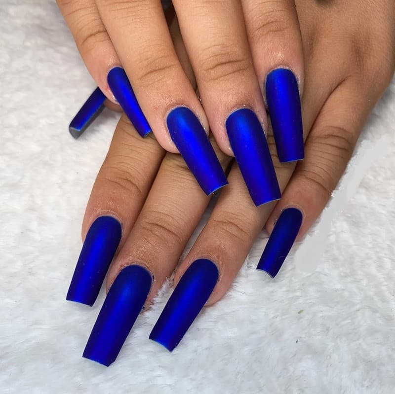 royal blue long square nails