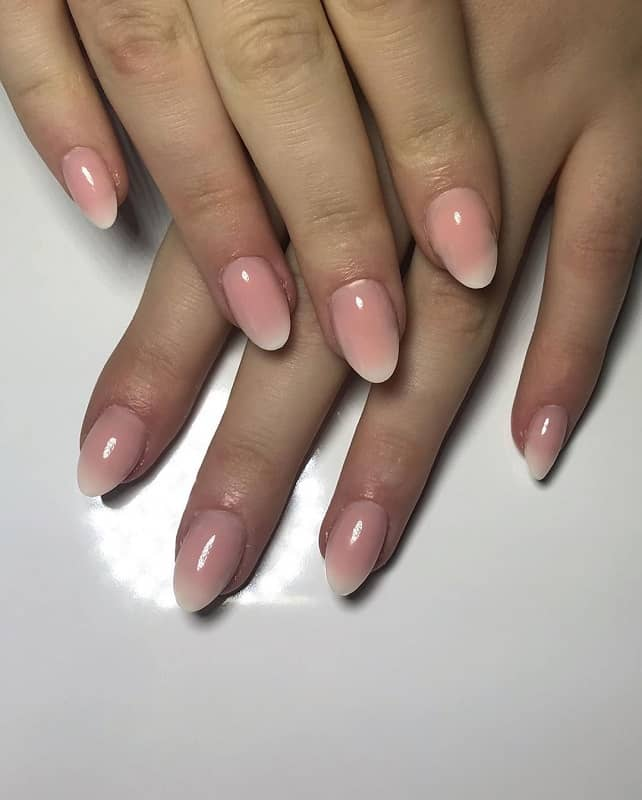 short oval pink and white nails