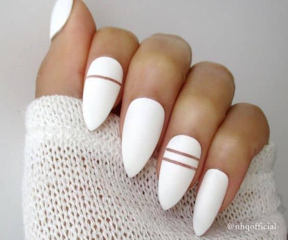 White striped Stiletto Nail