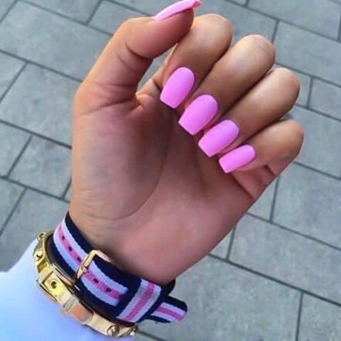 neon pink square acrylic nail