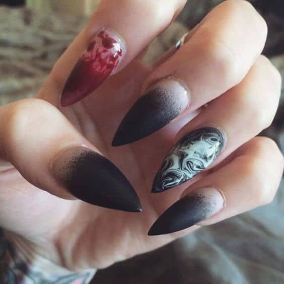 Halloween stiletto nail design idea