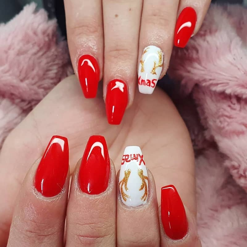 red and white ballerina nails