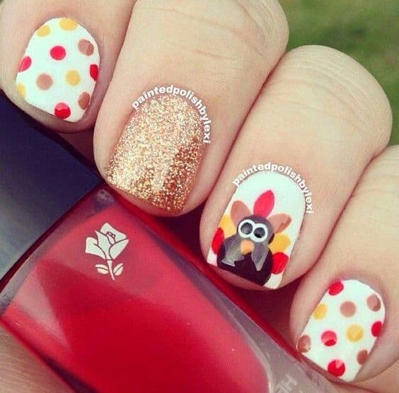 polka dot and turkey Nail Design