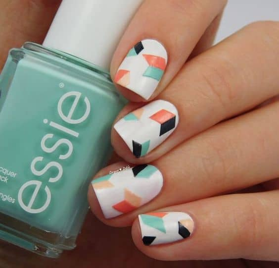 Different Pattern on Square Acrylic Nail