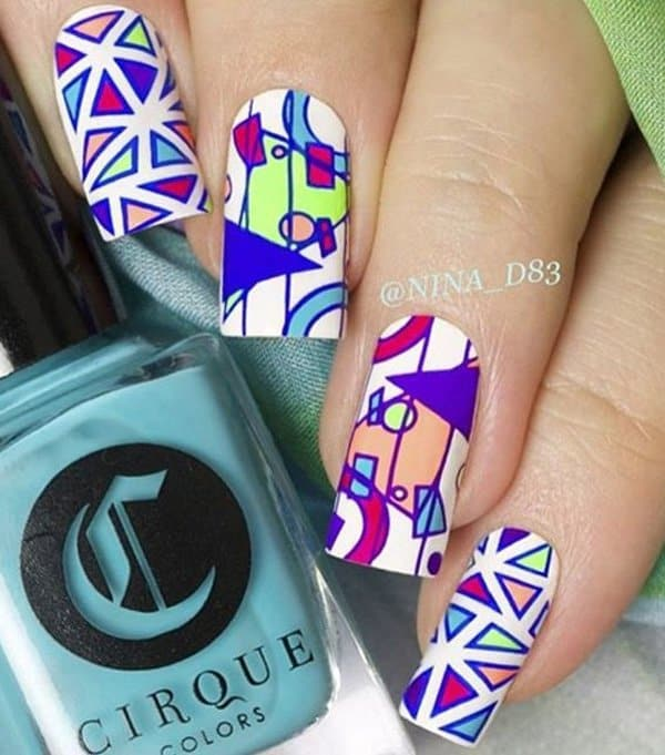 Geometric Patterned Abstract Nail Art