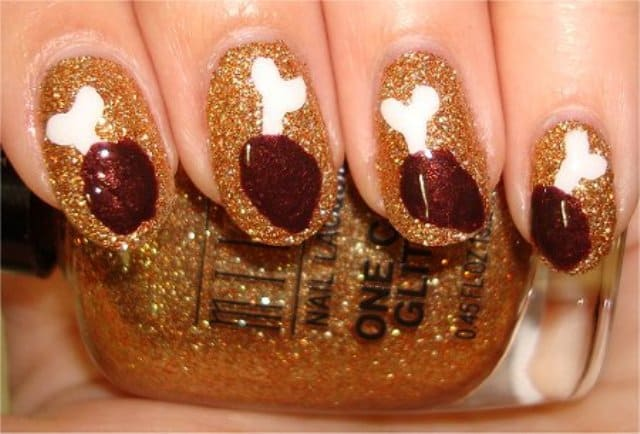 Thanksgiving Nail Art With Glitter